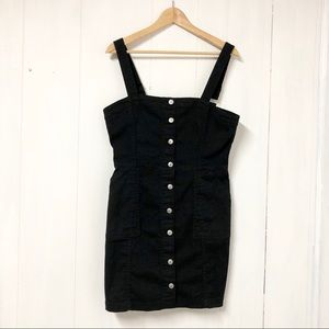 Divided Black Button Front Mini Dress